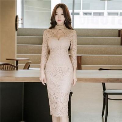 タイトワンピース 姫系 お嬢様 上品 OL 結婚式 ドレス ミディアム 。お出かけや同窓会・卒業式などのセレモニーにも大活躍させられる一枚