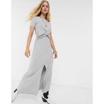 エイソス マキシドレス レディース ASOS DESIGN twist front maxi dress in grey marl エイソス ASOS グレー 灰色