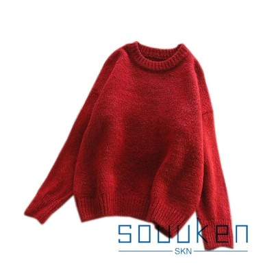 セーター レディース 明るい色 長袖 丸首 トップス ニット オーバーサイズ ゆったり 弾力性 厚手 保温 暖かい ふわふわ ワンサイズ