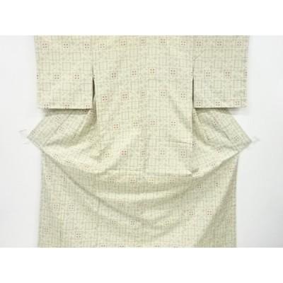 リサイクル 未使用品 幾何学模様織り出し手織り紬着物