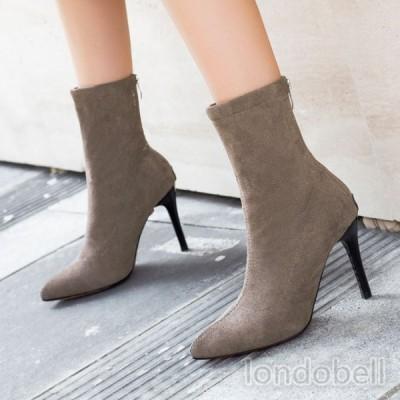 ショートブーツ レディース ハイヒール ピンヒール 9cm ポインテッドトゥ 靴 ブーティー 美脚 脚長効果 歩きやすい 疲れない スエード 女性 履きやすい 秋冬