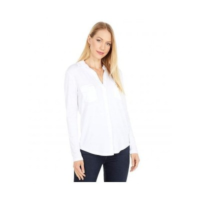 Majestic Filatures レディース 女性用 ファッション ボタンシャツ Soft Touch Long Sleeve Button-Down Shirt - Blanc