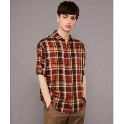 【ドレステリア】 半袖チェックシャツ メンズ キャメル 91(M) DRESSTERIOR