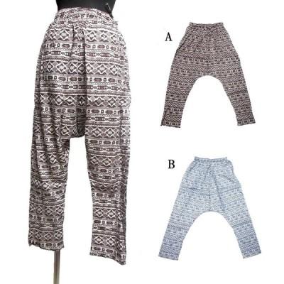 オルテガ柄エスニックサルエルパンツ エスニック衣料 エスニックアジアンファッション