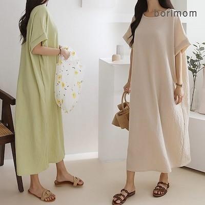 [BORIMOM] 韓国ファッションマキシワンピースロングワンピースワンピース ロング 夏ワンピース G157
