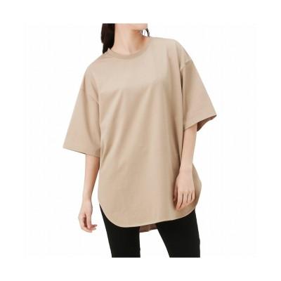 (MAC HOUSE(women)/マックハウス レディース)NAVY ネイビー オーガニックコットン ヘビーウェイトチュニックTシャツ OGCS0101/レディース ベージュ