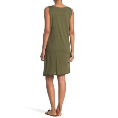 スティッチドロップ レディース ワンピース トップス Pleated Asymmetrical Hem Sleeveless Dress UNIFORM GREEN