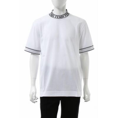 フェンディー FENDI Tシャツ 半袖 モックネック ホワイト メンズ (FY1040 ACN3) 送料無料 2020年秋冬新作