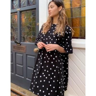 エイソス レディース ワンピース トップス ASOS DESIGN mini smock dress with frill sleeve in spot Black spot