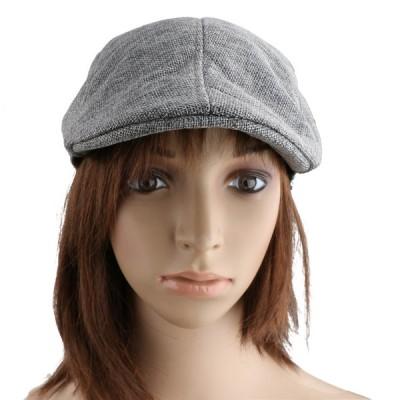 男女兼用 リネン ベレー帽 スポーツ 運転手 キャップ 鳥打帽 ハンチング帽 通気性 軽量 全6色 - グレー