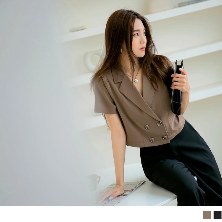 純色簡約短版排釦西裝領上衣罩衫
