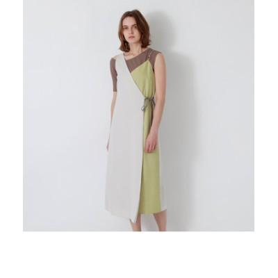 ベージュアシンメトリー スタイリング ドレス