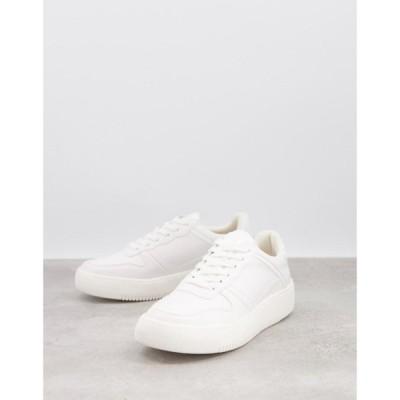 ロンドン レーベル London Rebel レディース スニーカー レースアップ シューズ・靴 lace up trainers in white ホワイト