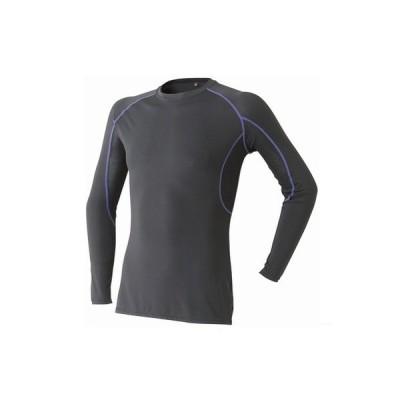 アタックベース 長袖クルーネックシャツ ブラック M 665-15