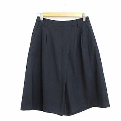 【中古】グリーンレーベルリラクシング ユナイテッドアローズ パンツ ガウチョ スカーチョ タック 38 紺 ネイビー