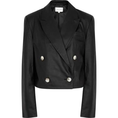 LOULOU スタジオ Loulou Studio レディース スーツ・ジャケット アウター kadmat black cropped leather blazer Black