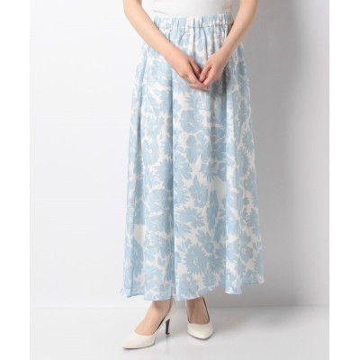 (Rewde/ルゥデ)フラワージャガードプリントロングスカート(1R10-04209)/レディース ブルー