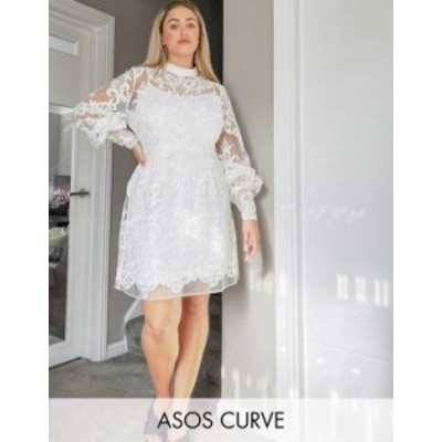 エイソス レディース ワンピース トップス ASOS DESIGN Curve Luxe high neck long sleeve mini dress with embroidered sequins in whit