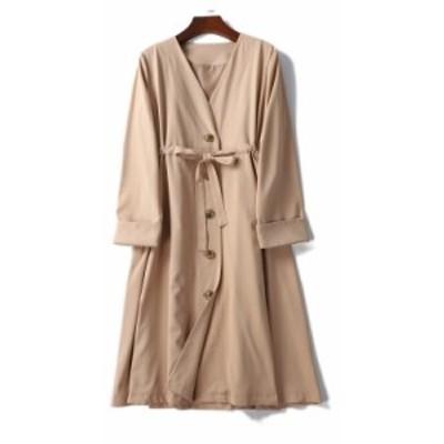 ノーカラーコート アウター レディース ゆったり ウエストリボン ロング丈 長袖 襟なし Vネック 大人可愛い シンプル 体型カバー 大きい