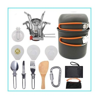 AMYZ Protable Camping Cookware Mess Kit for 2 People,Lightweight Outdoor Cooking Gear Set with Stove,Not-Stick Pan&Pot with Utensils &Bag fo