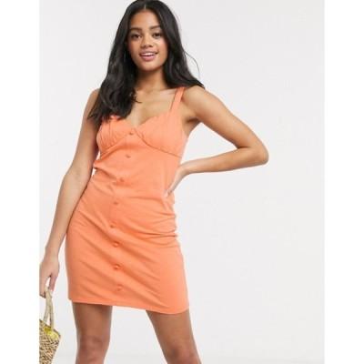 エイソス レディース ワンピース トップス ASOS DESIGN button through cupped dress in apricot