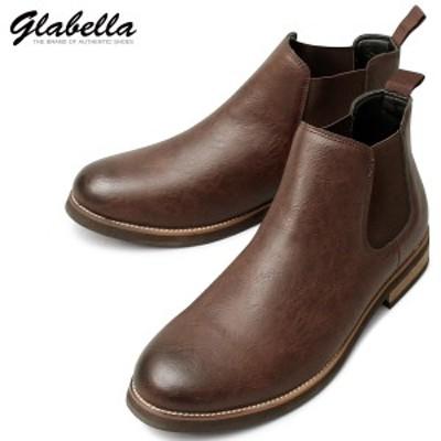 サイドゴアブーツ ショートブーツ PUレザー アンティーク メンズ ブーツ 靴 くつ(ダークブラウン茶) glbb155