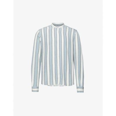 リース REISS メンズ シャツ トップス Chince striped woven shirt WHITE/SOFT BLUE