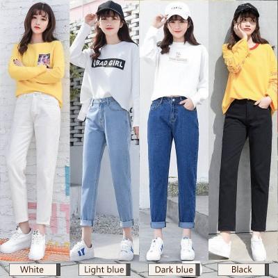 春秋の新作韓国ファッションジーパンの女性のまっすぐな筒のゆったりしている9分のズボンの高腰のダイコンのズボン/デニムパンツ  /美脚美尻パン
