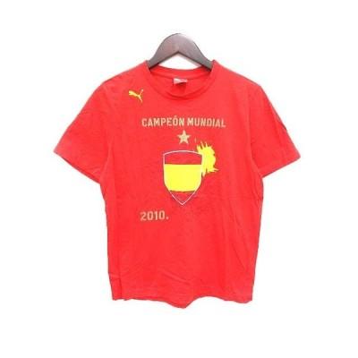 【中古】プーマ PUMA  Tシャツ クルーネック プリント 半袖 S 赤 レッド /YK メンズ 【ベクトル 古着】