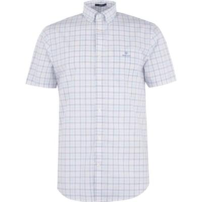 ガント Gant メンズ 半袖シャツ トップス Short Sleeve Check Shirt Blue