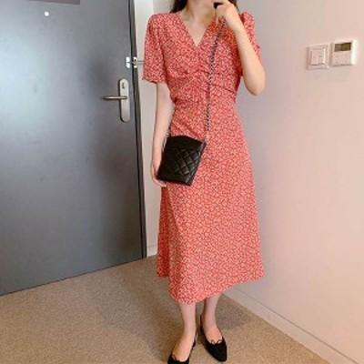 予約商品 大きいサイズのレディース  Vネック 胸元シャーリング 小花柄 ロングワンピース 半袖 オーバーサイズ 韓国ファッション ビッグ