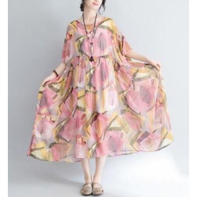 シフォンワンピ夏人気ロングドレス  リゾート短袖ボヘミア風レディースシフォンワンピース木の葉柄マキシワンピ