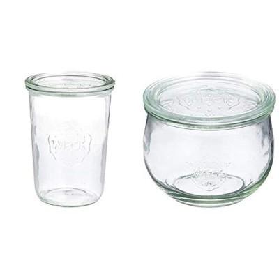 WECK ガラス保存容器 モールドシェイプ 750ml WE-743 & WECK ガラス保存容器 チューリップシェイプ 500ml WE-