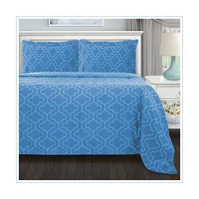 Superior 100% Brushed Cotton Flannel Bedding Reversible Duvet Cover Set, Twin, Light Blue Trellis並行輸入品