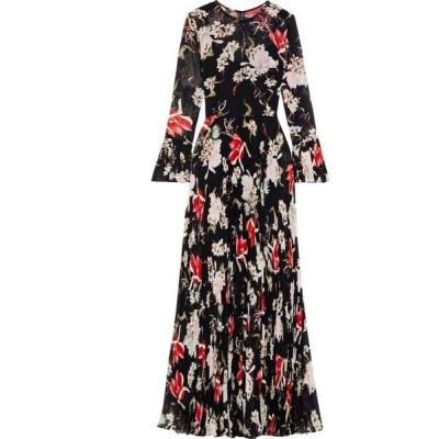 ミカエル アガール MIKAEL AGHAL レディース パーティードレス ワンピース・ドレス pleated floral-print chiffon gown Black
