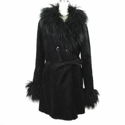 【中古】未使用品 キルスター KILLSTAR Belladonna Shearling Coat ダブル フェイク ムートン コート L 黒 レディース