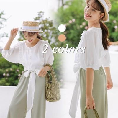 ブラウスレディースシャツきれいめ40代春夏上品ブラウスリボン付き白シャツフリルトップス半袖ゆったりオシャレ韓国風