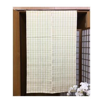 本麻のれん 縞格子 薄地 麻のれん ロング丈 インテリア 暖簾 のれん 黄色 白 麻100% プレゼント チェック柄 麻 93cm×150cm