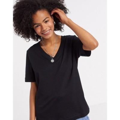 セレクティッド レディース Tシャツ トップス Selected Femme short sleeve v neck t-shirt in black Black