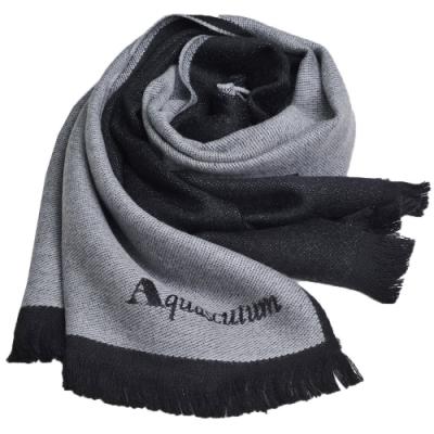 Aquascutum 義大利製經典品牌字母LOGO素雅雙面配色披肩/圍巾(淺灰/黑)