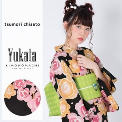 ツモリチサト 浴衣単品「黒色 薔薇」 tsumori chisato 綿浴衣 女性浴衣 [送料無料]ss2006ykl20