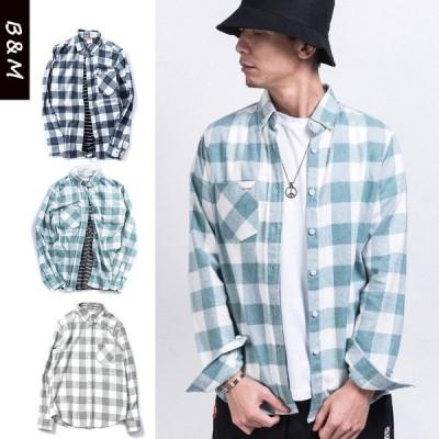 ワークシャツ ビッグシルエット 大きいサイズ メンズ 長袖 カジュアルシャツ ウエスタン 秋 冬 春 シンプル 定番