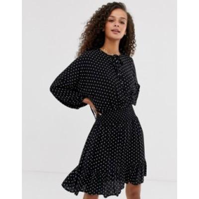 エイソス レディース ワンピース トップス ASOS DESIGN mini dress with elasticated waist in mono spot Mono spot