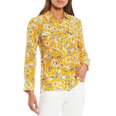 エーラブズエー レディース シャツ トップス Classic Long Sleeve Point Collar Floral Shirt