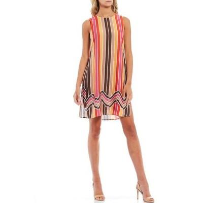 トリーナターク レディース ワンピース トップス Taylor Striped Border Print Side Slit Sleeveless Overlay Shift Dress