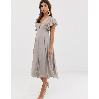 エイソス レディース ワンピース トップス ASOS DESIGN midi dress with lace godet panels