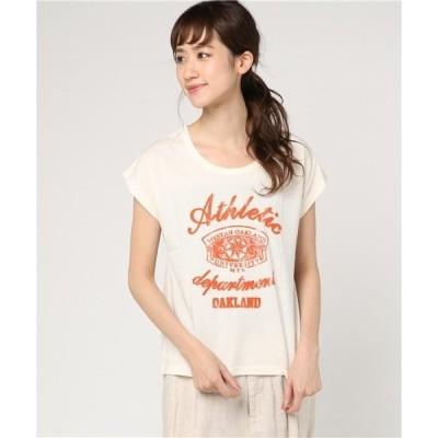 tシャツ Tシャツ フロッキープリントTシャツ