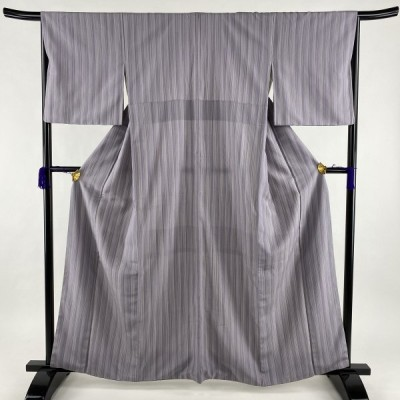 塩沢紬 逸品 証紙あり やまだ織 縦縞 灰紫 袷 身丈162.5cm 裄丈66.5cm M 正絹 中古
