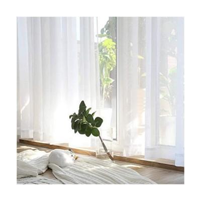 UVカットレースカーテン、シンプルで自然な風通しの良い白いカーテンサイズ:(幅)100 x(丈)100 cm x 2枚