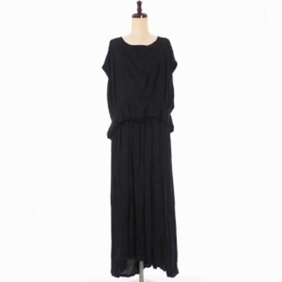 【中古】未使用品 アンドゥムルメステール ANN DEMEULEMEESTER 19AW ロングワンピース ドレス スリット 34 ブラック